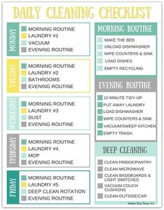 Printable daily cleaning schedule for busy moms spring cleaning tips and the ultimate cleaning checklist Daily Cleaning Checklist, Deep Cleaning Tips, House Cleaning Tips, Cleaning Solutions, Cleaning Hacks, Cleaning Routines, Diy Hacks, Cleaning Challenge, Apartment Cleaning Schedule
