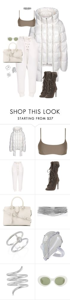 """Untitled #4213"" by kimberlythestylist ❤ liked on Polyvore featuring Hood by Air, Matteau, Aquazzura, Yves Saint Laurent, Messika, Allurez and Acne Studios"