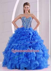 2014 Spring Exquisite Sweetheart Ruffled and Beaded Quinceanera Gowns in Blue