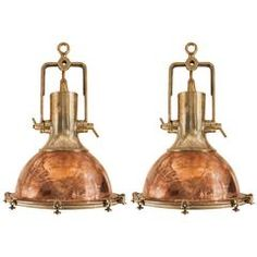 Pair of Large Copper and Brass Ship Deck Lights