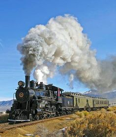 Trains ©: The Nevada Northern Railway. Locomotive 40 pulling a Steptoe Valley Flyer on the main line Locomotive Diesel, Steam Locomotive, Old Steam Train, Steam Engine Train, Scenic Train Rides, Old Trains, Vintage Trains, Train Art, Train Pictures