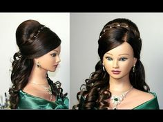 Cute hairstyle for Christmas and New Year's Eve -  curly half up half down hairstyle, YouTube tutorial