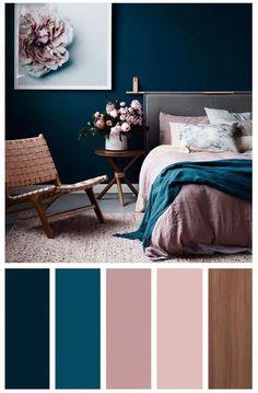 New Dark Wood Bedroom Decor Ideas Interior Design Ideas Bedroom Colour Palette, Bedroom Color Schemes, Bedroom Paint Colors, Bathroom Colours, Paint Colours, Paint Schemes, Best Colour For Bedroom, Bedroom Wall Colour Ideas, Cute Bedroom Ideas