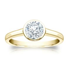 Auriya 14k Gold 3/4ct TDW Round-cut Bezel Solitaire Ring (H-I, SI1-SI2) (White Gold - Size 5), Women's