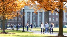 Students walking through the Great Lawn at Christopher Newport University in Newport News, Virginia