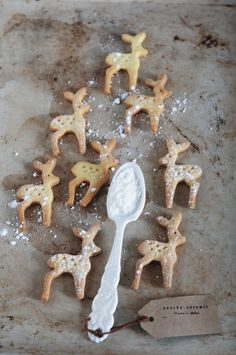 Reindeer cookies and a stunning spoon! Nordic Christmas, Noel Christmas, Christmas Treats, Christmas Baking, All Things Christmas, Winter Christmas, Christmas Cookies, Christmas Decorations, Reindeer Christmas