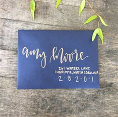 Copper and Navy Calligraphy Envelope by AntlersandPeonies on Etsy