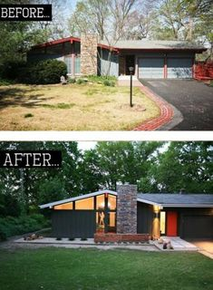Home Renovation Remodeling Best Home Remodel Exterior Midcentury Modern Ideas Ranch Exterior, Exterior Remodel, Modern Exterior, Exterior Design, Modern Home Exteriors, Stucco Exterior, Exterior Shutters, Black Exterior, Modern Homes