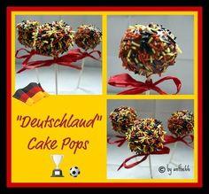 """Hier der Versuch meiner ersten Cake Pops. Habe mir gedacht, es ist ja bald Fußball-EM und wenn man zum """"Rudelgucken"""" eingeladen ist, ist das doch eine nette Idee für ein Mitbringsel."""