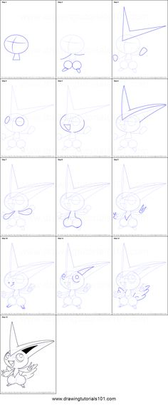 How to Draw Victini from Pokemon printable step by step drawing sheet : DrawingTutorials101.com