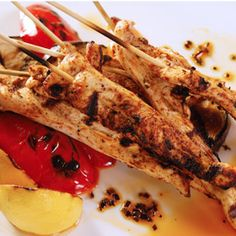 Ancho Chile-Spiked Chicken Skewers, a recipe from ATCO Blue Flame Kitchen's Call of the Flame 2009 cookbook.
