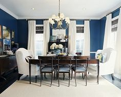 love blue dining rooms. sherwin williams foggy day is a nice muted