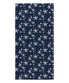 Navy Starfish Beach Towel