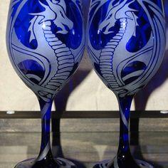 Hand Etched Cobalt Blue Dragon Wine Glasses on Artfire