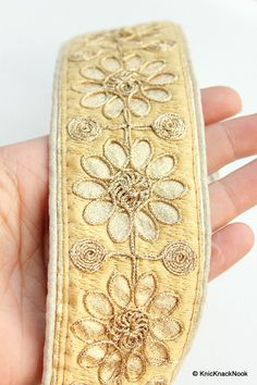 Gold Indian Embroidery One Yard Flower Silk Trim by KnicKnackNook