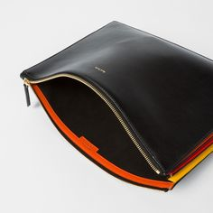 Men's black 'Concertina' document pouch featuring contrasting yellow, red and orange pleats at the side, giving a striped effect. Leather Laptop Case, Leather Card Wallet, Leather Pouch, Leather Men, Mens Pouch Bag, Leather Company, Slg, Computer Bags, Small Leather Goods