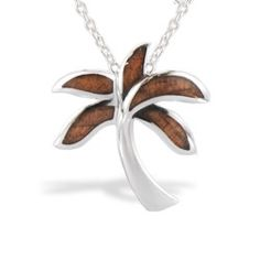 Sterling Silver Palm Tree with Koa Wood* Inlay (Chain Included) - Koa Inlay Jewelry - Collections