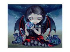 Art Print: Dark Dragonling by Jasmine Becket-Griffith : 24x18in
