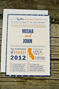 Wedding Invitations - pretty cool use of the state outline...  David likes this one too.