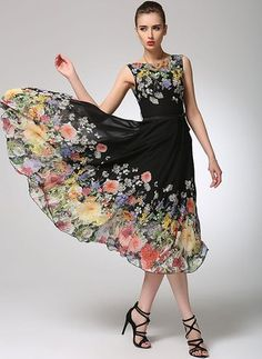 Vestidos Chifón Floral Midi Sin mangas (1036959) @ floryday.com