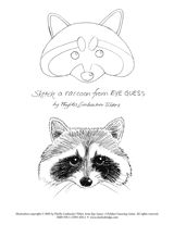 """Eye Guess"" raccoon coloring page"