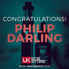 Congratulations to Philip Darling  You have won the Aspire Archon Box Mod  Cleito 120 Tank  Vaping Outlaws Four Horseman e-liquid  Get in touch & we'll get the items to you asap.