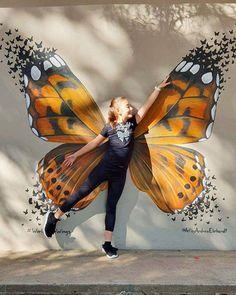 Butterfly Wings Mural by Art by Andrea Ehrhardt at Laerskool Koedoeskop Murals Street Art, Graffiti Wall Art, Mural Wall Art, Street Art Graffiti, Street Wall Art, Best Street Art, Graffiti Artists, Graffiti Lettering, Angel Wings Art