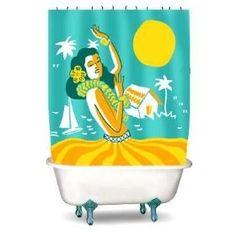 Hawaiian Themed Shower Curtain
