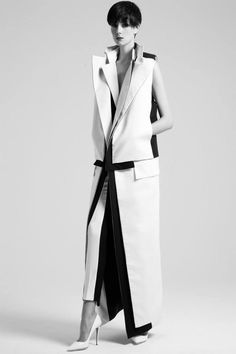 Contemporary Fashion - sleek tailoring with layered lapels & graphic trim // Rad Hourani