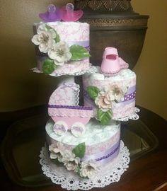 Baby Girl Diaper Cake - Elegant Baby Girl Diaper Cake - Purple and pink Diaper Cake