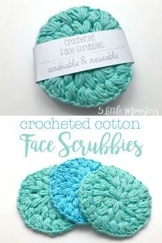 A set of crocheted cotton face scrubbies makes a great gift. They are a really quick project to make and are a great way to use up leftover cotton yarn. Free crochet pattern along with a bonus Cricut file to create a paper wrap to package the set. Yarn Projects, Knitting Projects, Knitting Patterns, Free Easy Crochet Patterns, Cotton Crochet Patterns, Crochet Projects To Sell, Sewing Stitches, Crochet Simple, Free Crochet