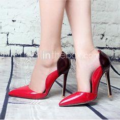 Brevet piele femei Stiletto Heel Punct Toe Pompe Pantofi - USD $20.13