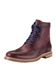 N2B9A Cole Haan Cooper Square Wing-Tip Boot, Red
