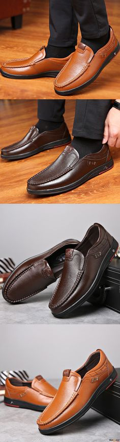 7b46e2fa0cbd Comfy Casual Business Genuine Leather Slip On Soft Moc Toe Oxfords for Men