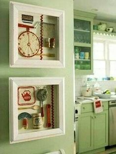 Kitchen tools shadow boxes Cute Kitchen, Green Kitchen, Kitchen Redo, Kitchen Items, Kitchen Utensils, Cooking Utensils, Kitchen Cabinets, Kitchen Walls, Oak Cabinets