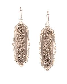 An dainty hint of rose gold and beautiful rose gold drusy, these Kendra Scott earrings are perfect to add elegance to any fall outfit. French hook. 14k rose gold plated brass.