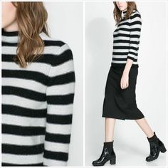 NWT ZARA STRIPED ANGORA SWEATER BLACK WHITE SIZE S *SALE* #ZARA #STRIPEDANGORASWEATER