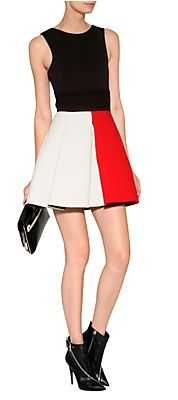 Wool Colorblock Dress in Red/Ivory by FAUSTO PUGLISI | Luxury fashion online | STYLEBOP.com