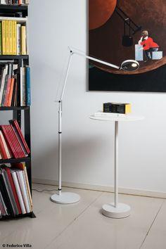 #Demetra floor lamp, #design Naoto Fukasawa. #Led source, white finish and Movement Detector