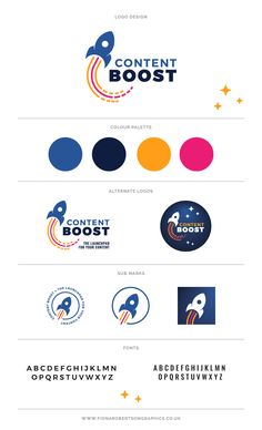Content Boost branding by Fiona Robertson Graphics Web Design, Graphic Design Tips, Graphic Design Branding, Graphic Design Inspiration, Logo Branding, Corporate Branding, Type Logo, Marca Personal, Personal Logo