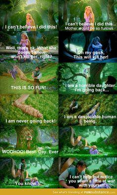 Tangled - Repunzel and Flynn Rider funny scene. Disney Pixar, Film Disney, Disney And Dreamworks, Disney Songs, Humor Disney, Disney Quotes, Funny Disney, Disney Facts, Flynn Rider