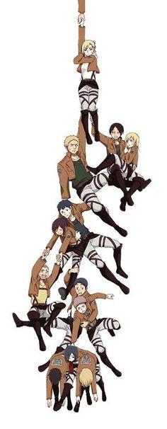 Shingeki no Kyojin / Attack on Titan - Durarara !! style I love how Mikasa is holding up Eren and Armin X)