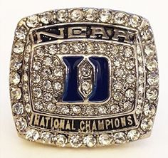 Duke 2015 Championship Ring Replica - Coach K - Size 9 Cool College Basketball Memorabilia NCAA March Madness National Champions Mike Krzyzewski Blue Devils - Shipped from USA