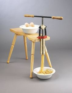 For making homemade fresh pasta the Torchio Model B hand crank pasta press comes complete with two dies for spaghetti and rigatoni (Venetian dialect: bigoli and gargati). The Torchio Model B hand press can be attached to any table or bench. Kitchen Aid Pasta Recipe, Kitchenaid Pasta Press, White Sauce Lasagna, Anchovy Sauce, Materiel Camping, Noodle Maker, Food Equipment, Spaghetti Noodles, Pasta Noodles