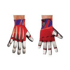 Optimus Prime Gloves Adult, Multi-Colored ($18) ❤ liked on Polyvore featuring men's fashion, men's clothing, men's costumes and halloween