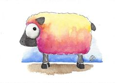 ACEO Original watercolor painting whimsical farm animal blushing sheep #IllustrationArt
