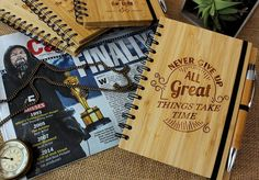 Never give up. All great things take time. This is a philosophy all wood workers live by. Great work takes time and patience. We must never give up when things are difficult. Let this engraved bamboo wood notebook remind you to be resilient until your goal is reached. #customnotebook #inspirationalquotes #personalizednotebooks