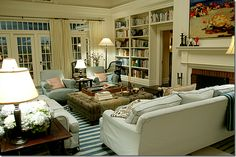 """""""Somethings Gotta Give"""" living room - the movie I watch simply to drool over the house!"""