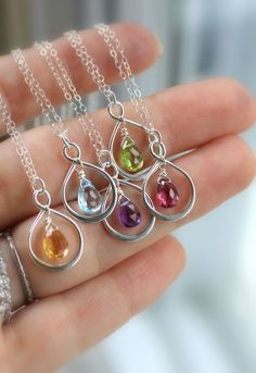 Infinity Necklaces, Set of FIVE 5 Bridesmaid Gifts, Custom Birthstone Necklaces, Silver Infinity Pendant, Choice of Gemstone, Thank you Gift. $171.00, via Etsy.
