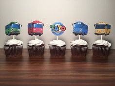 Tayo the Little Bus Cupcake Toppers (Set of by TaimCreations on Etsy 1st Birthday Party Themes, Baby Birthday Cakes, 5th Birthday, Birthday Ideas, Tayo The Little Bus, Sweet Corner, Cupcakes, Party Time, Party Party